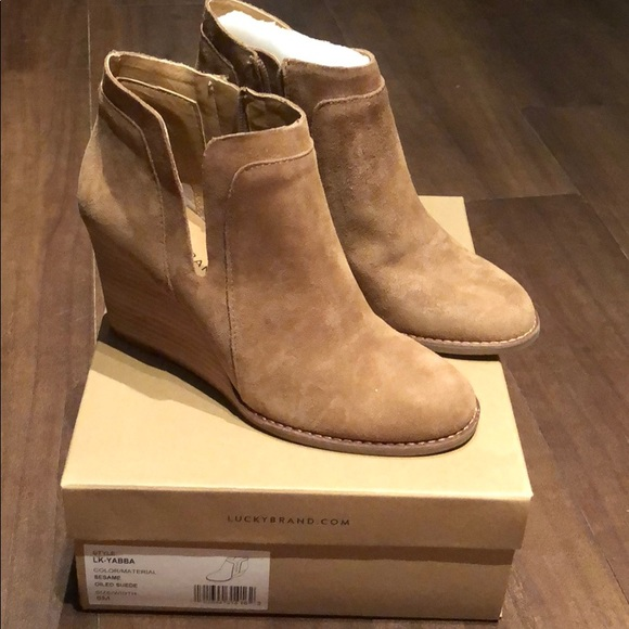 68e7f284cbc Lucky Brand Shoes - Lucky Brand Yabba Wedge Booties
